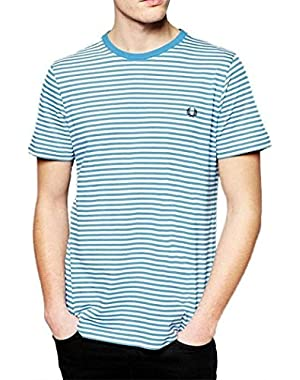 Man White T-Shirt Fred Perry Stripe Blue