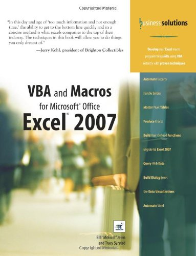 VBA and Macros for Microsoft Office Excel 2007 by Que Publishing