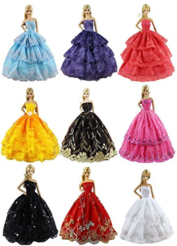 FairyStar 6 PCS Fashion Handmade Clothes Dress For Barbie Doll Style Color Random (11.5