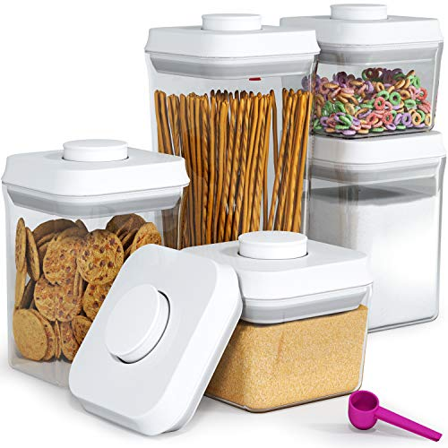 (Pop&Lock Air Tight Food Storage Containers - Pop 5-Piece Premium Pantry Space Saving Canisters - Cereal, Flour, Sugar, Pasta, Rice - Hanging Lids And FREE Scoop - 7 Yr)