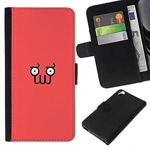 FU-Orionis Dibujo PU billetera de cuero Funda Case Caso de la piel de la bolsa protectora HTC Desire 820 - Divertido minimalista Squid Cara Z0Idberg