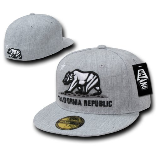 Retro Fitted Hat Cap (WHANG Cali Bear Logo Retro Fitted Baseball Caps (Grey, 7-5/8))