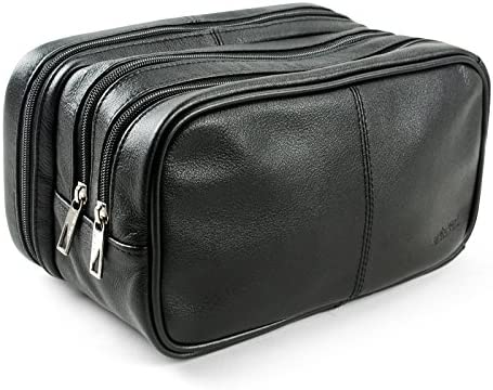 Lavievert Genuine Leather Toiletry Bag Grooming Shaving Accessory Dopp Kit Portable Travel Organizer with Three-layered Storage Sections Handle Strap