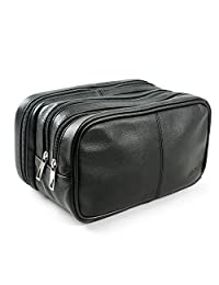 Lavievert Genuine Leather Toiletry Bag Grooming Shaving Accessory Dopp Kit Portable Travel Organizer with Three-layered Storage Sections & Handle Strap by Lavievert