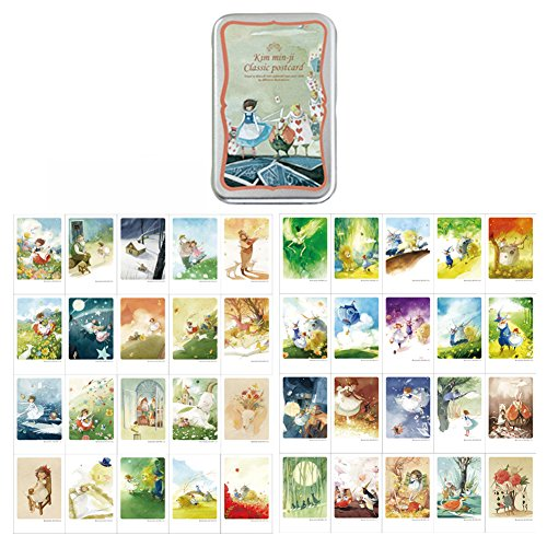 Mini Illustrated Card 40 Greeting Cards per Tin Case Message & Decorative Card Set of 40 sheets 2.17