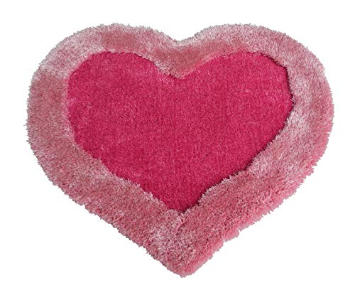 New 3D Heart Shape Soft and Smooth Shaggy Rug 100cmx100cm (786) (Pink)