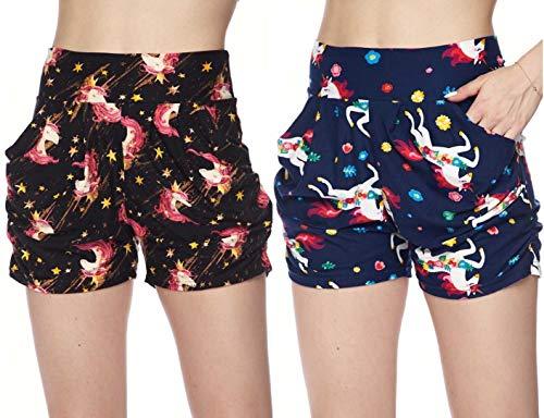 Women's 2 Pack Premium Ultra Soft Harem Shorts in Fun Trendy Patterns (Fun Unicorns with Stars and Flowers, S/M (2-8))