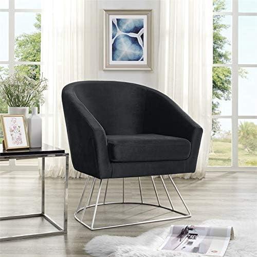 Posh Living Leo Tufted Velvet Barrel Back Accent Chair in Black Chrome