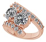 White Cubic Zirconia Two Stone Couple Ring In 14k Rose Gold Over Sterling Silver (4 Cttw) Ring Size - 9