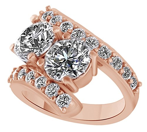 White Cubic Zirconia Two Stone Couple Ring In 14k Rose Gold Over Sterling Silver (4 Cttw) Ring Size - 9 by AFFY