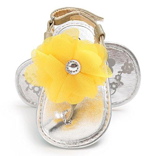 Baby Schuhe Auxma Baby Mädchen Blumen Sandalen Kleinkind Kinder Schuhe für 3-6 6-12 12-18 Monat (6-12 M, Gelb) Gelb