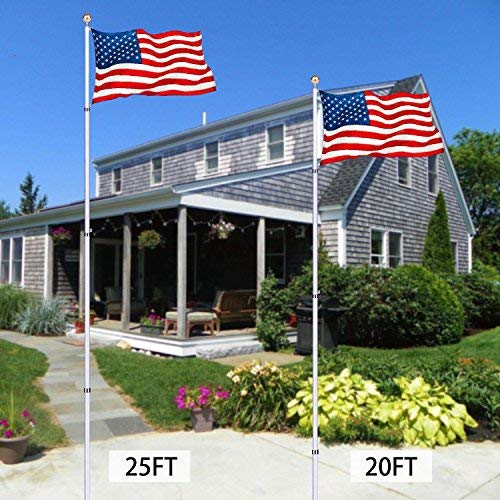 CHARAVECTOR 25ft Telescopic Flagpole Silver Aluminum Flag Pole Kit Set,Halyard Flag Pole Stand Free 3'x 5' US American Flag & Gold Ball,Fly 2 Flags Outdoor Garden