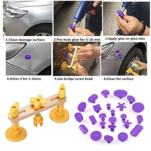 GS Car Body Paintless Dent Repair Kit New Design Bridge Dent Puller Set Pops A Dent PDR Tools with 24pcs Different Size Purple Glue Pulling Tabs Hand Tools GuangSheng