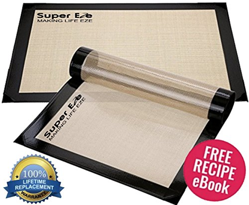 Silicone Baking Mat Set of 2 by SuperEze. Best for Half Size Cookie Sheets 16.5'' x 11 5/8'' - Heavy Duty FDA Approved Non Stick Professional Grade Silicon Liner Mats (Free Ebook Included) by SuperEze