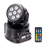 Moving Head Stage Effect Light U'King 7x10W 4 color RGBW LED 5 control mode DJ KTV disco banquet hall (Black with Remote)