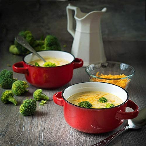 Baking Serving Ceramic Red 16 Oz Soup Bowls with Handles Set of Four Stoneware Chowder Bisque Pot Pie Crocks
