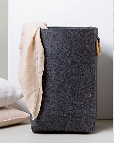 Large Felt Laundry Basket, Dark Grey Hamper