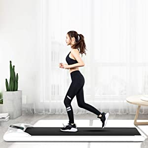 Slim Treadmill with Display Installation-Free Shock Walking Machine with Smart Remote Control Treadmills for Home
