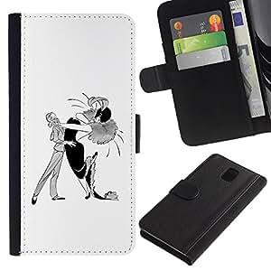 Billetera de Cuero Caso Titular de la tarjeta Carcasa Funda para Samsung Galaxy Note 3 III N9000 N9002 N9005 / Dance Caricature Man Woman Drawing Art / STRONG