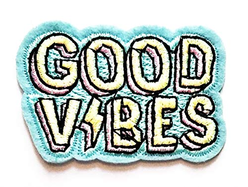 Nipitshop Patches Fashion Good Vibes Funny Words Blue Cartoon Kids Kids Patch Embroidered Iron On Patch for Clothes Backpacks T-Shirt Jeans Skirt Vests Scarf Hat Bag