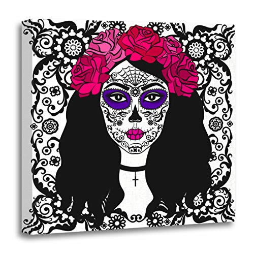 Emvency Canvas Wall Art Print Black Tattoo Girl with Sugar Skull Makeup Calavera Catrina Mexican Halloween Person Dia De Los Muertos Artwork for Home Decor 12 x 12 Inches