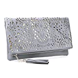 Image of BMC Womens Shimmering Silver Perforated Cut Out Pattern Gold Accent Background Foldover Pouch Fashion Clutch Handbag