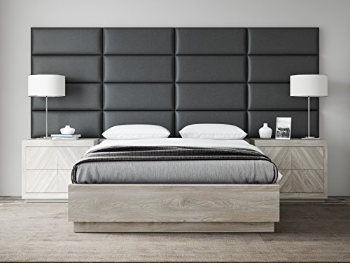 VANT Upholstered Headboards - Accent Wall Panels - Packs Of 4 - Vintage Leather Black Coal - 30