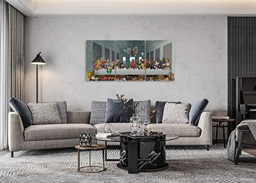 WeiYang 3 Panels Canvas Wall Art Pictures NBA The Last Supper Basketball Stars Painting Modern Basketball Superstar Posters Prints Artwork Home Decor