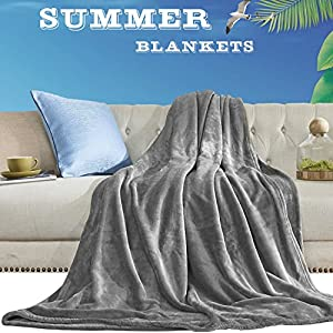 """Aidear 100% Lightweight Summer Blanket, 350GSM Super Soft Breathable Fleece Plush Throw Blankets for Sofa, Couch, Air-Conditioner Room (43""""x60"""", Gray)"""