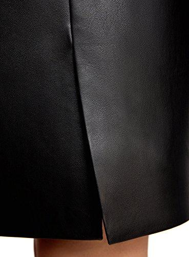 oodji Ultra Mujer Falda de Piel Sintética con Cremallera Negro (2900N)