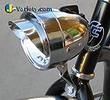 J Bikes Dynamo Retro-Style Bullet Headlight with Visor, Chrome For Sale