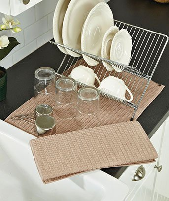 Superb Drymats Kitchen Dry Mat 2 PACK TAUPE