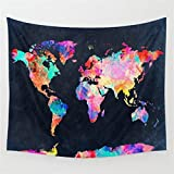 Gontic Fashion Retro Black & Colour Printed World Map Tapestry Wall Hanging Throw  Compared with traditional painting, this fabric tapestry is more economical, and suitable for more places. For example, the bedroom, living room, dormitory, corrid...