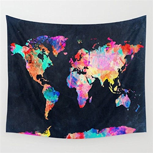 Embroidered Tapestry Fabric Wall Hanging (Tapestry Wall Hanging World Map Wall Tapestry Black & Watercolor Abstract Painting Mandala Bohemian Tapestry Indian Wall Decor Curtains Tablecloths Beach Towels Home Room Headboard Decor 51