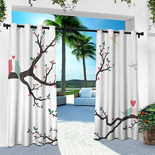 - Hengshu Love, for Front Porch Covered Patio Gazebo Dock Beach Home,Birds on The Tree Serenade Nostalgic Partners Ceremony Valentines Romance Theme, W120 x L108 Inch, Green Pink Brown