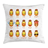Emoji Bedding and Curtains Ambesonne Emoji Throw Pillow Cushion Cover, Funny Pineapples with Faces Sad Kiss Skeptic Cry Love Laugh Cool Teases Angel Evil, Decorative Square Accent Pillow Case, 20 X 20 Inches, Multicolor