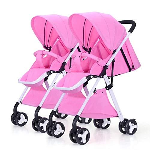 XZHSA Double Stroller Tandem Foldable Stroller 2 Canopy Pram for Babies Newborn – 3 Years Old (Color : Pink)