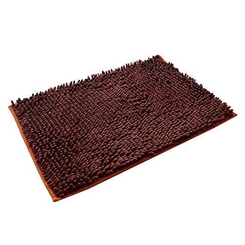kaimao chenille nonslip bath mat rug washable soft shaggy absorbent shower mat carpet 157 x 236 inch dark brown