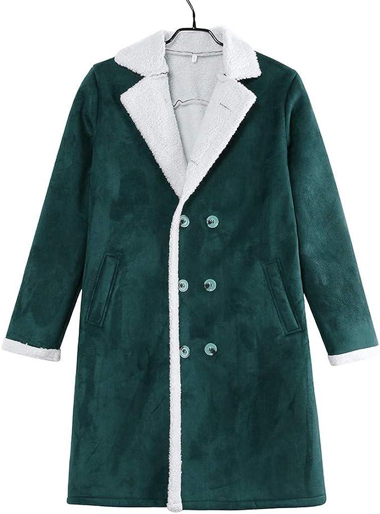 Wadonerful Wool Jacket Mens Lapel Long Sleeve Double-Breasted Winter Thicken Trench Outwear Overcoat Fleece Linned Coat