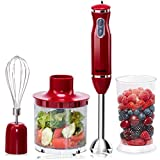 Cheap Costway 4-in-1 Hand Blender 300W 2-Speed Electric Multifunctional Immersion Stick Blender w/500ml Food Chopper, Egg Whisk, and 700ml Beaker (Red)