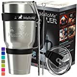 MalloMe Tumbler Stainless Steel Insulated Tumbler With Straw - Best Tumblers With Lids And Straws - Coffee 30 oz Cup Travel Mug Handle - 6 Piece - Like Yeti Tumbler Gift Set