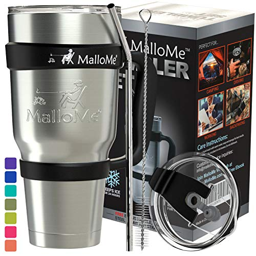 MalloMe Stainless Steel Tumbler 30 oz Insulated Coffee Cup Travel Mug with 2 Lids, Handle, Straw, Brush, 6 Piece Gift Set