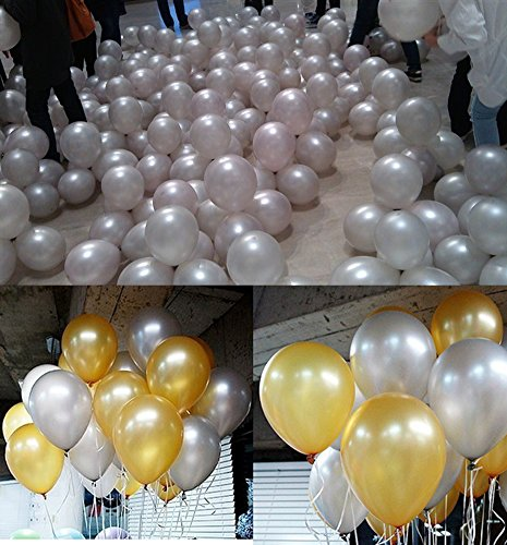 EN-LIFE Silver Latex Balloons 100pcs/lot 12 inch 2.8g Thicken balloon Halloween Wedding Party Birthday Balls Classic toys christmas gift by EN-LIFE (Image #4)
