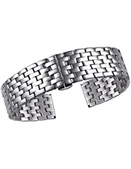 23mm Silver Stainless Steel Watch Bracelets for Men Metal Watch Bands with Removable Links