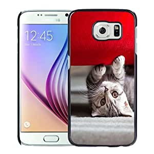 NEW Fashion Custom Designed Cover Case For Samsung Galaxy S6 Cat Couch Black Phone Case