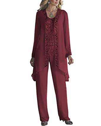 3f2067f5f Fitty Lell Women's Elegant Long Sleeve Mother of The Bride Three-Piece Pant Suit  Chiffon