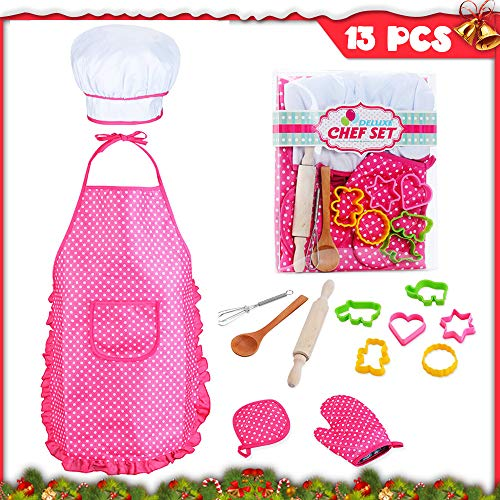 Kids Chef Role Play Costume Set Includes Apron, Chef Hat for Little Girls Chef Set Toddler Dress up Pretend Play Kitchen Chef Costume Set-13pcs Baking Sets Great Gift