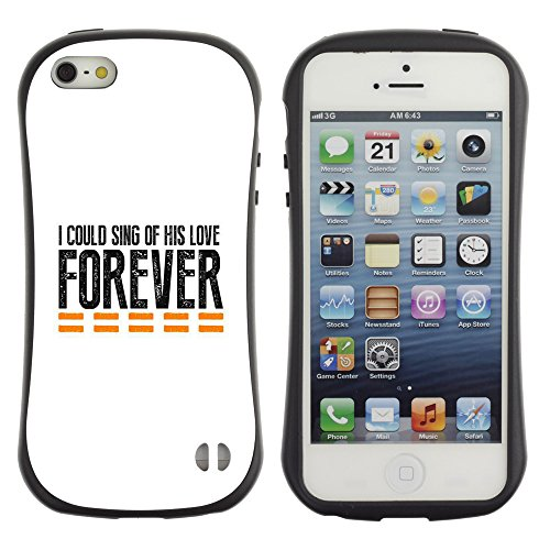 DREAMCASE Citation de Bible Silicone et Rigide Coque Protection Image Etui solide Housse T¨¦l¨¦phone Case Pour APPLE IPHONE 5 / 5S - I COULD SING OF HIS LOVE FOREVER