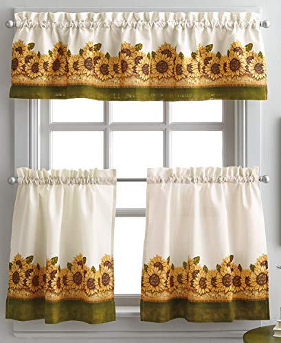 (Curtainworks Sunflower Garden 36 in. Curtain Tier Set )