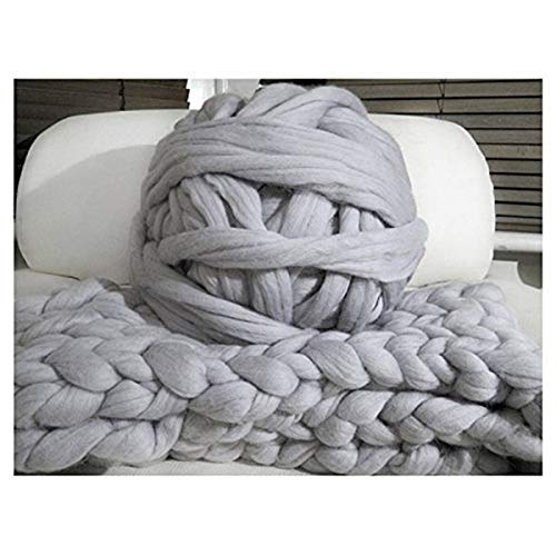 clootess Bulky Chunky Yarn Big Roving Wool for Hand Made Knitted DIY Sofa Bed Throw Blankets Light Grey 8 lbs = 3.6 kg by clootess (Image #3)